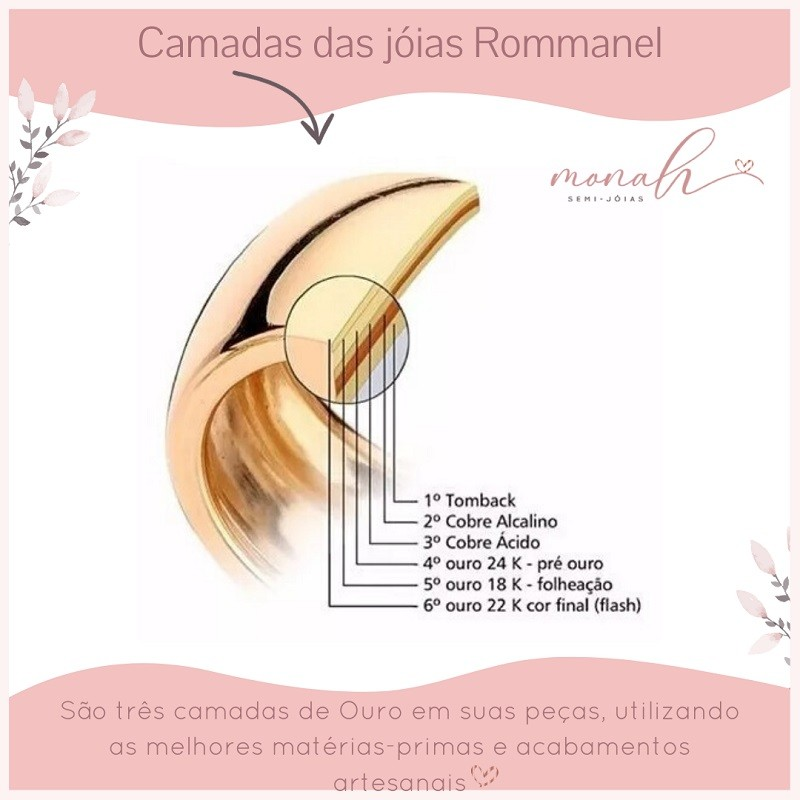 MAXI ANEL FOLHEADO ROMMANEL EM GOTA COM CRISTAL E ZIRCÔNIAS - 512844