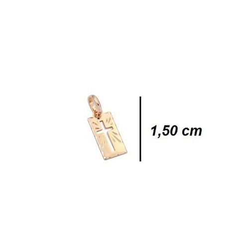 PINGENTE FOLHEAD0 ROMMANEL RETANGULAR COM CRUZ VAZADA NO CENTRO MED. 1,5 X 0,6 CM - 540004