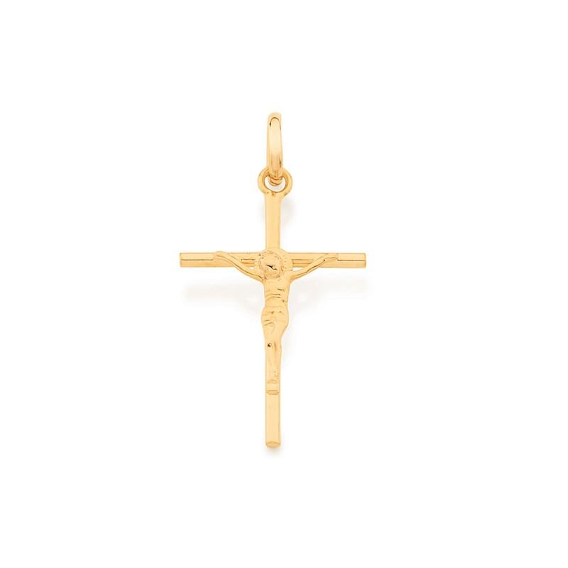 PINGENTE FOLHEADO ROMMANEL CRUZ COM CRISTO 3CM - 520027