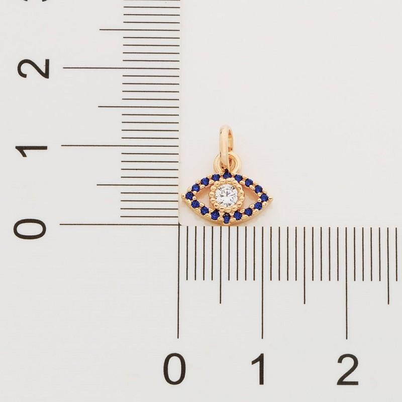 PINGENTE FOLHEADO ROMMANEL OLHO GREGO COM 17 ZIRCÔNIAS - 542227