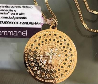 PINGENTE FOLHEADO ROMMANEL MEDALHA PAI NOSSO E CRUZ - 542066