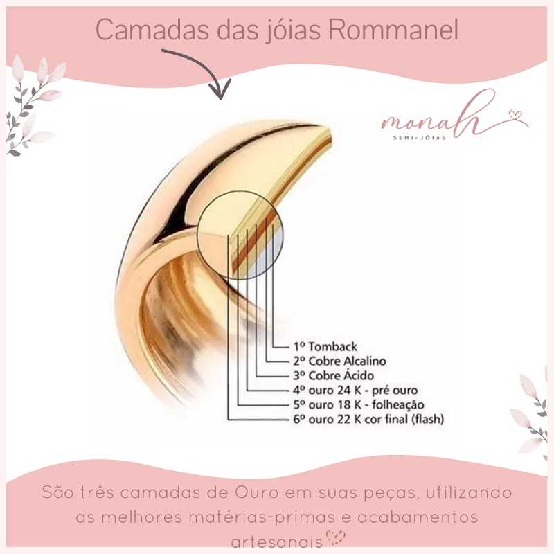 PULSEIRA FOLHEADA ROMMANEL ELO PORTUGUÊS COM CRISTAIS - 551624 |551614