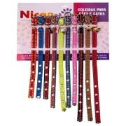 Coleira para cachorro de Nylon com pingente - Display com 10 unidades