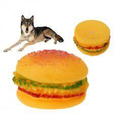 Brinquedo Hambúrguer Vinil com apito para Cachorros