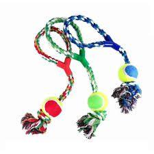 Brinquedo para Cachorro Mordedor modelo Corda com Bola de Tênis