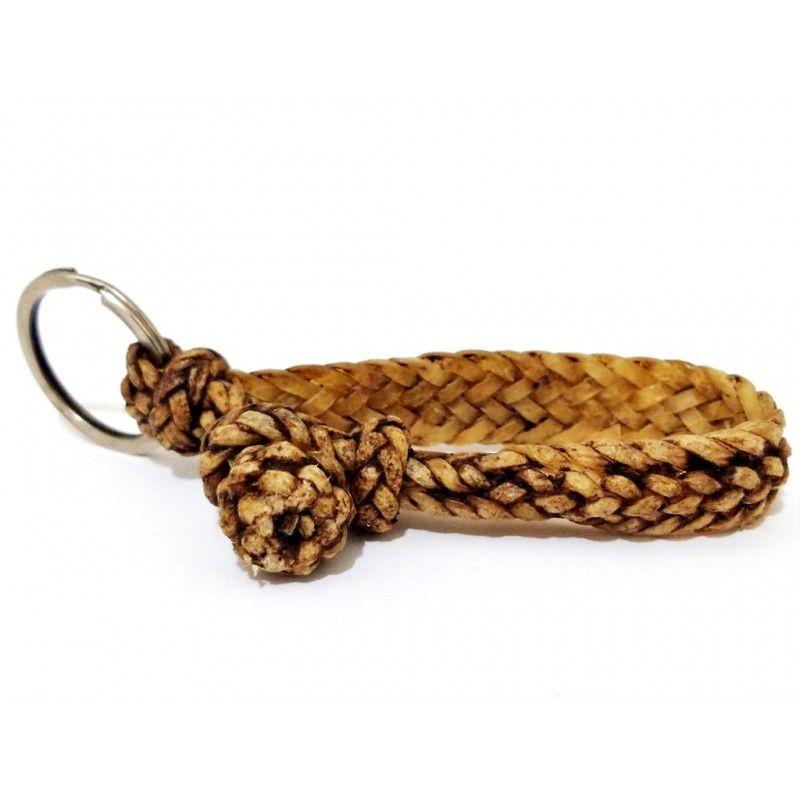 Chaveiro de couro trançado estilo lombo de jacaré - Estilo country