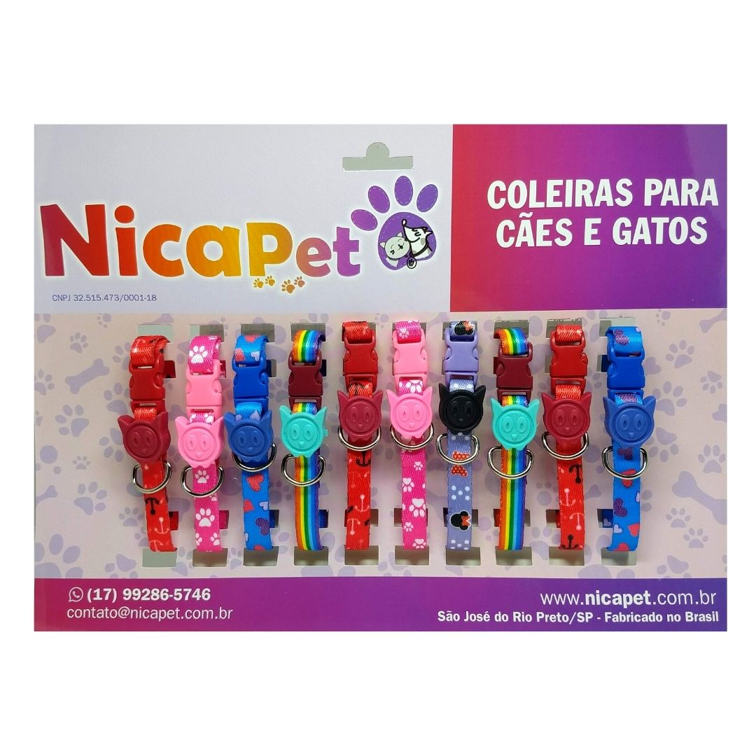 Coleira de Seda com Nica Cat para Gatos - Display com 10 coleiras