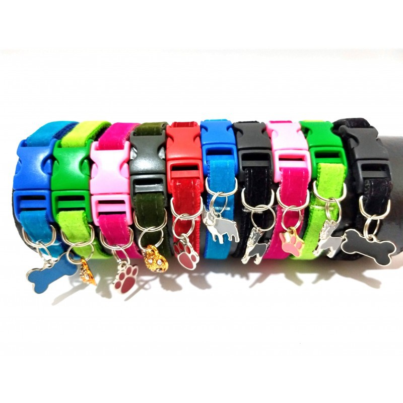 Coleira para cachorro de camurça - Display com 10 unidades