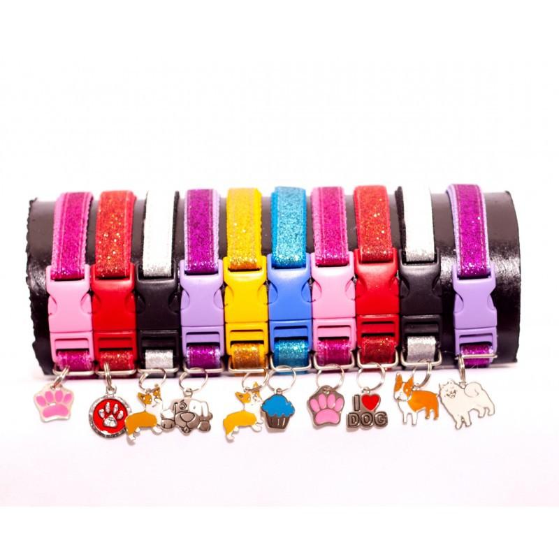 Coleira para cachorro de Glitter - Display com 10 unidades