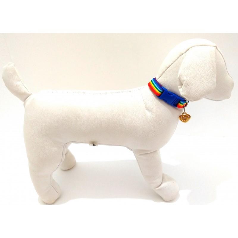 Coleira para cachorro - Seda Arco - Iris 15mm