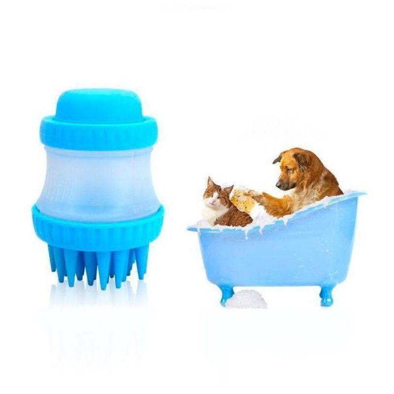 Escova de Silicone para Cachorro com Porta Shampoo