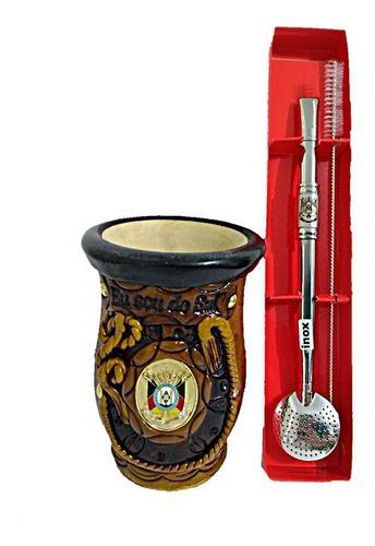 Cuia Para Chimarrão De Porongo Com Brasão+ Bomba Inox Desmontável Com Escovinha E 2 Filtros Para Chimarrão