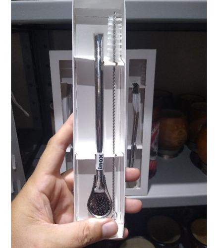 Bomba Inox Chimarrão Tereré Desmontável 19cm Escova Limpeza