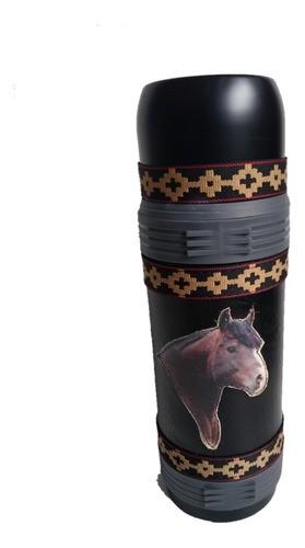 Garrafa Térmica Inox 1 Litro Inquebrável Revestida Cavalo