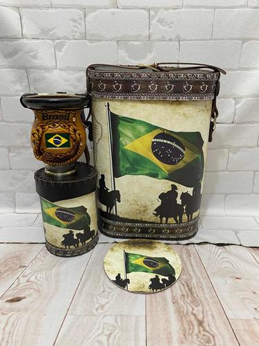 Kit Chimarrão Do Brasil Mateira1lt+cuia+porta Erva+cevador