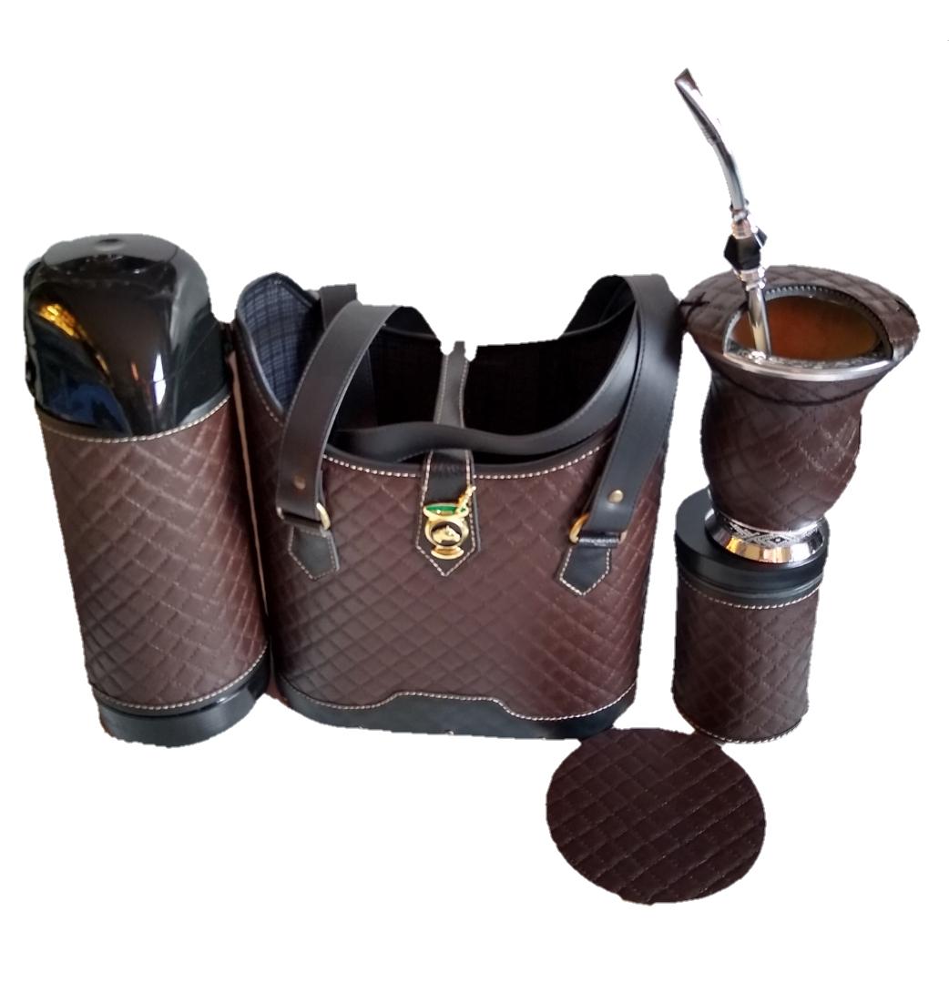 kit chimarrão feminino completo marrom 1lt luxo