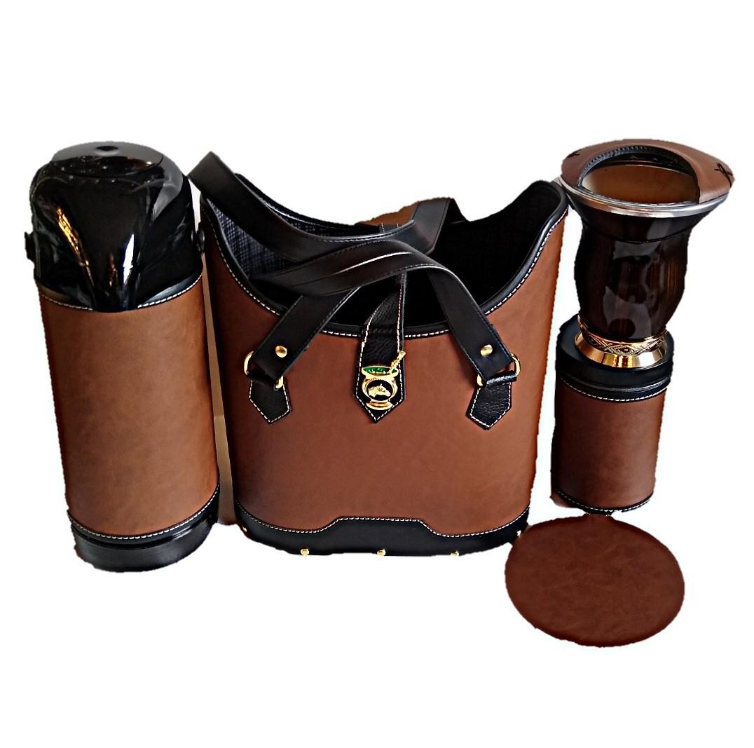 kit chimarrão feminino onça couro 1lt luxo top de qualidade
