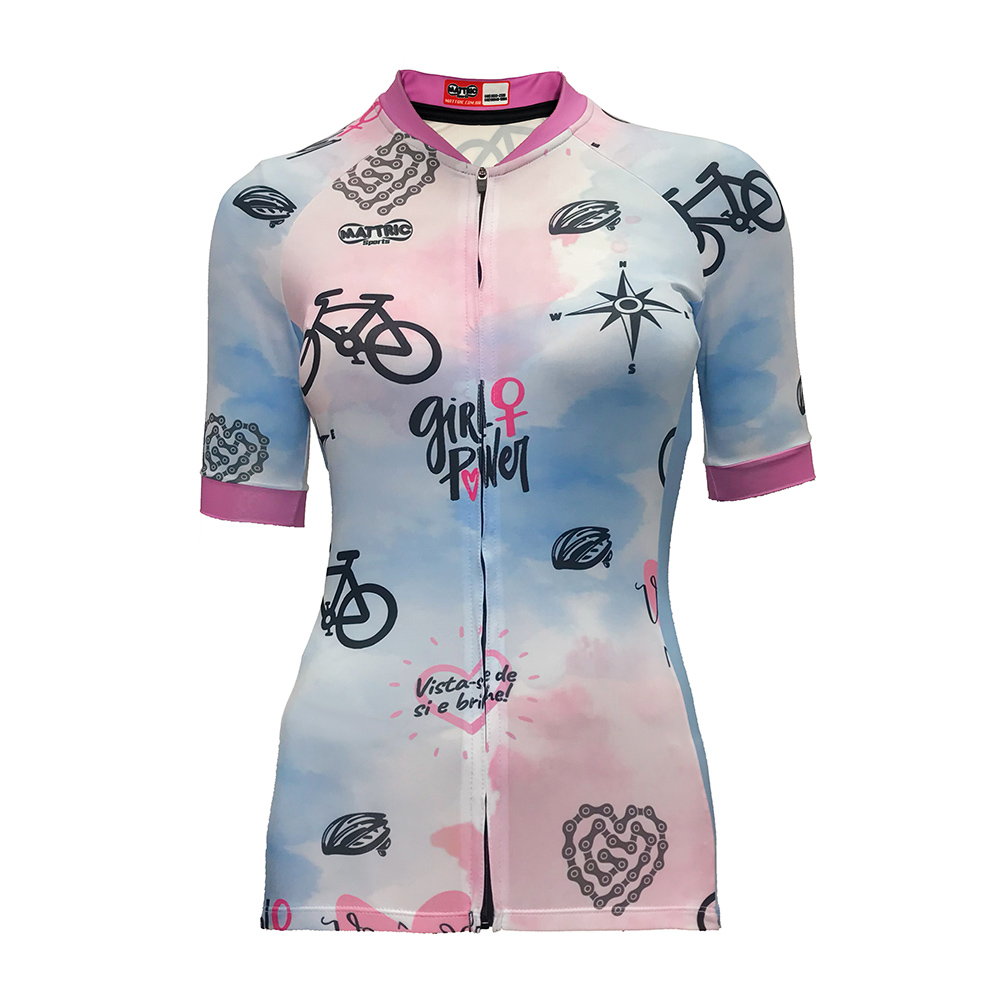 Camisa Mattric Ciclismo Feminina Rosa E Azul