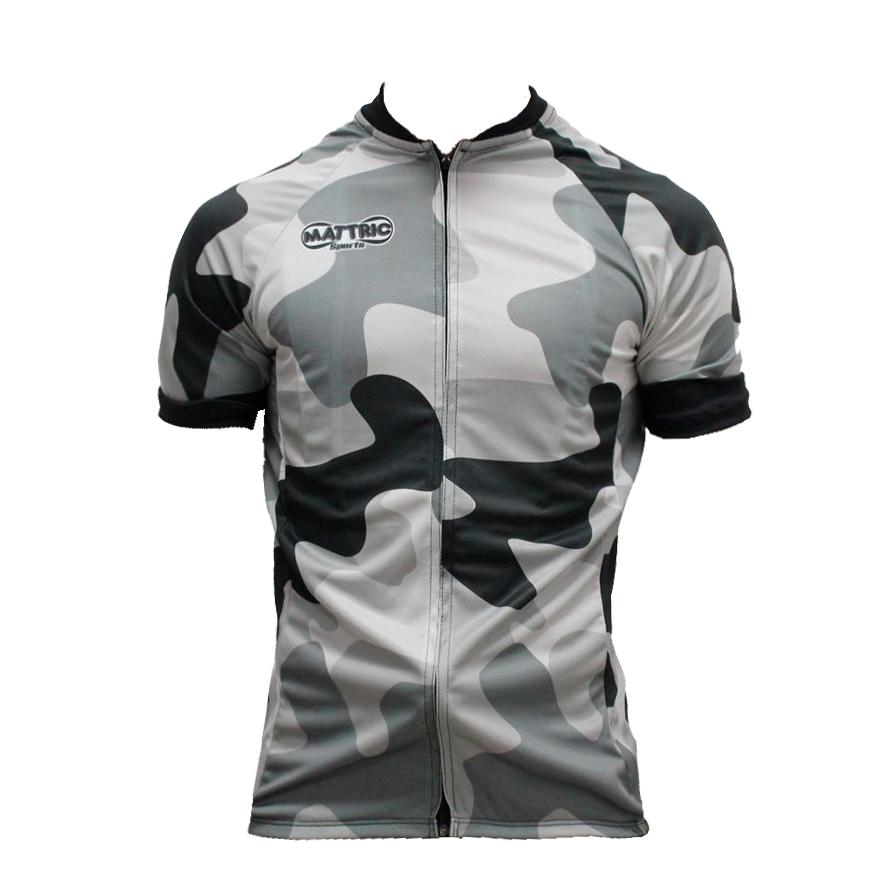 Camisa De Ciclismo Mattric Masculina - Cinza e Camuflado