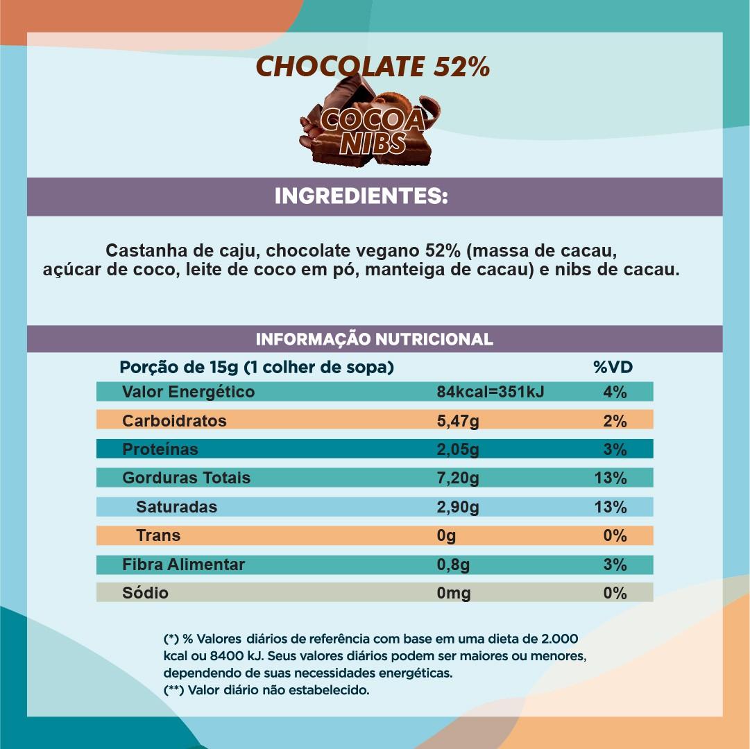Pasta de Castanha com Chocolate 52% e Nibs de Cacau (210g)
