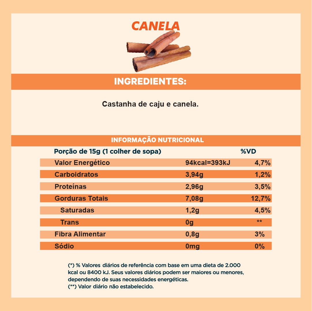 Pasta de Castanha sabor Canela (210g)