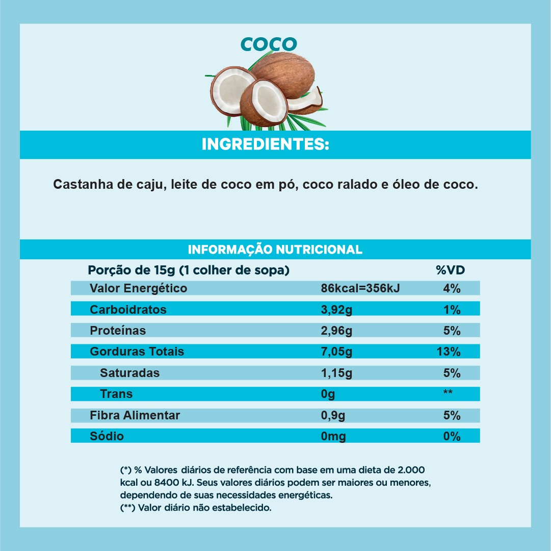 Pasta de Castanha sabor Coco (210g)