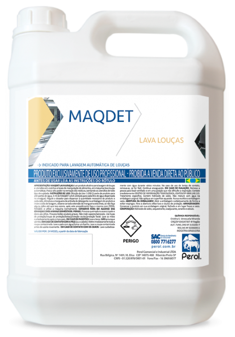 MAQDET - DETERGENTE ALCALINO PARA LAVA LOUÇAS -  5 Litros - Perol