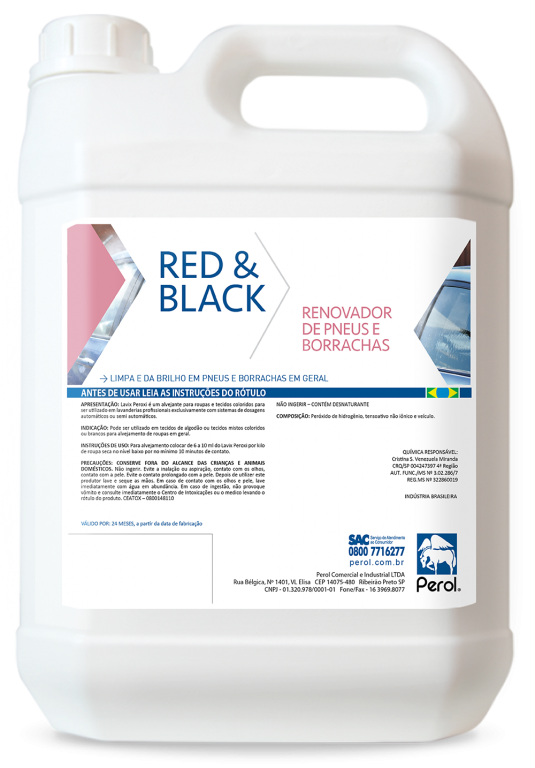 RED & BLACK - LIMPA PNEUS E BORRACHAS - 5 Litros - Perol
