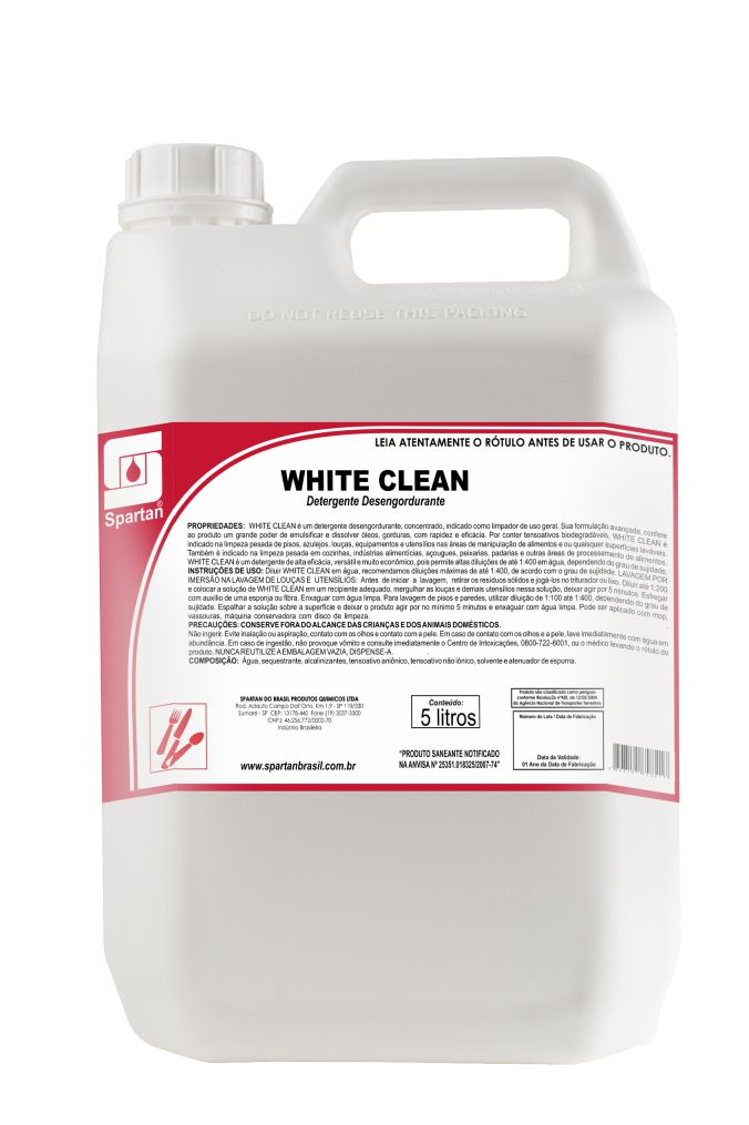 WHITE CLEAN - DETERGENTE NEUTRO - 5 Litros - Spartan
