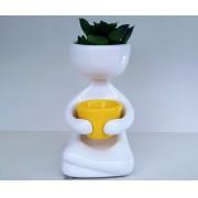 Vasinho Perna Cruzada Branco com Vasinho Amarelo