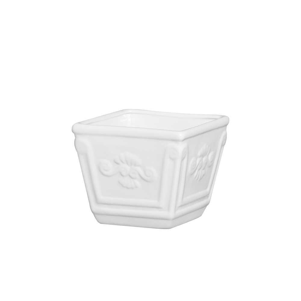 Cachepot Quadrado I Esmaltada Branco