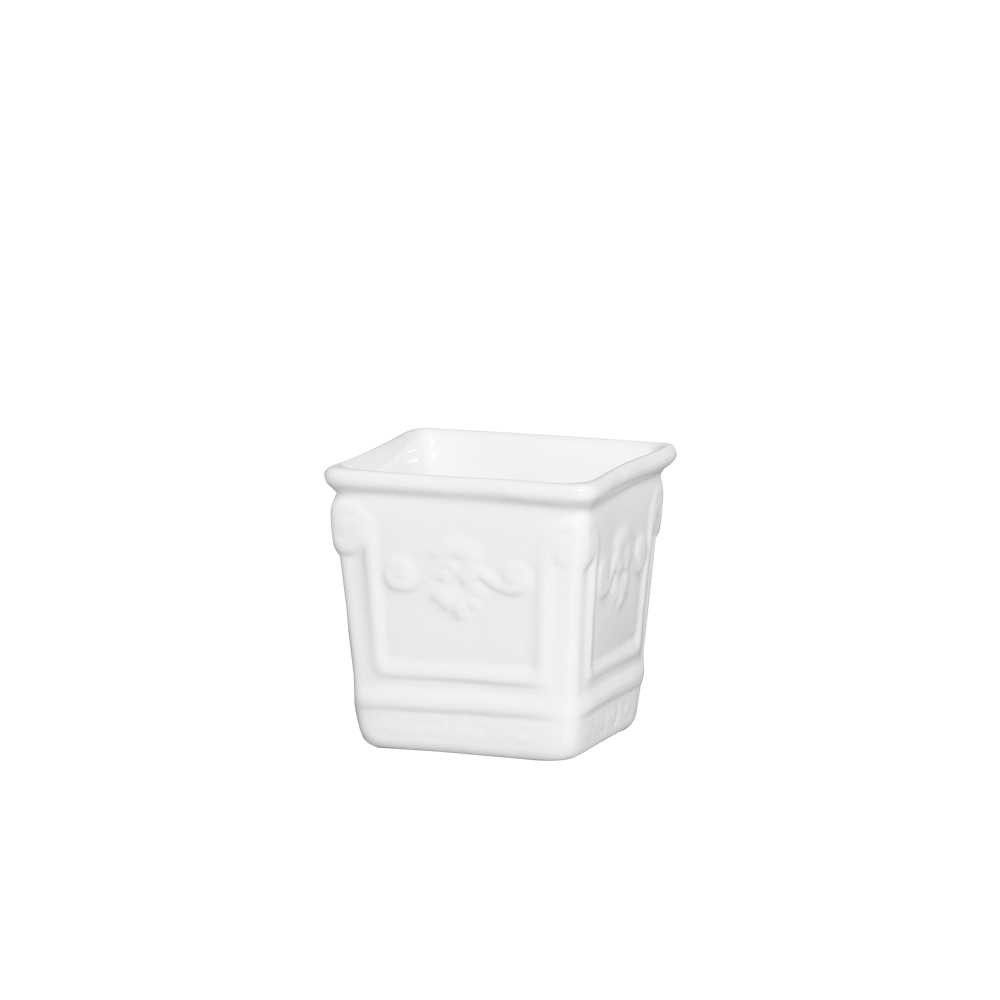 Cachepot Quadrado II Esmaltada Branco
