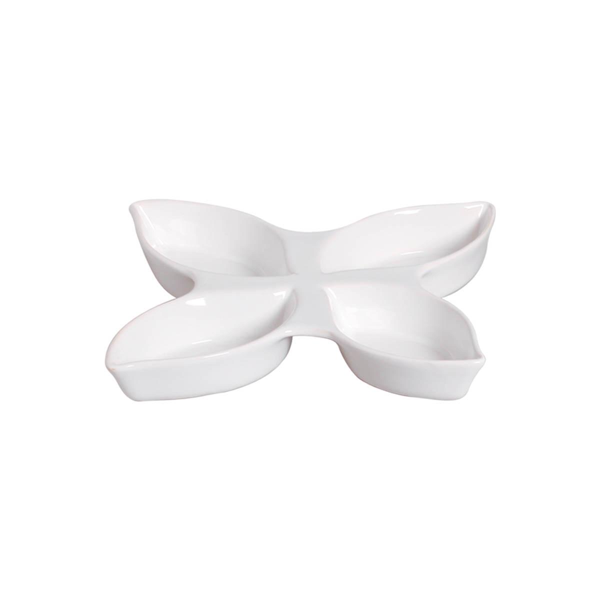 Petisqueira Grande Folha Em Cerâmica Branco Clássico