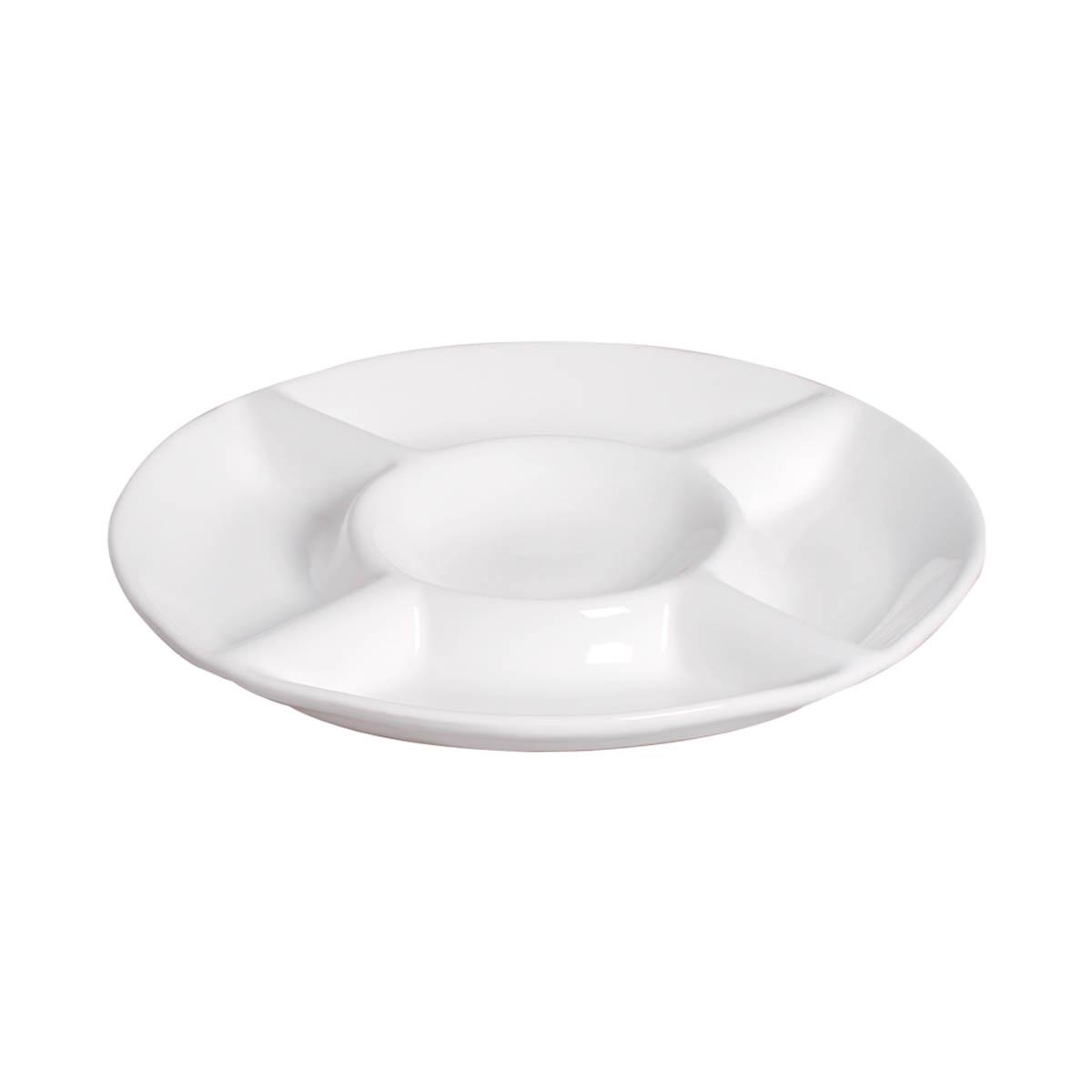 Petisqueira Grande Redonda Em Cerâmica Branco Clássico
