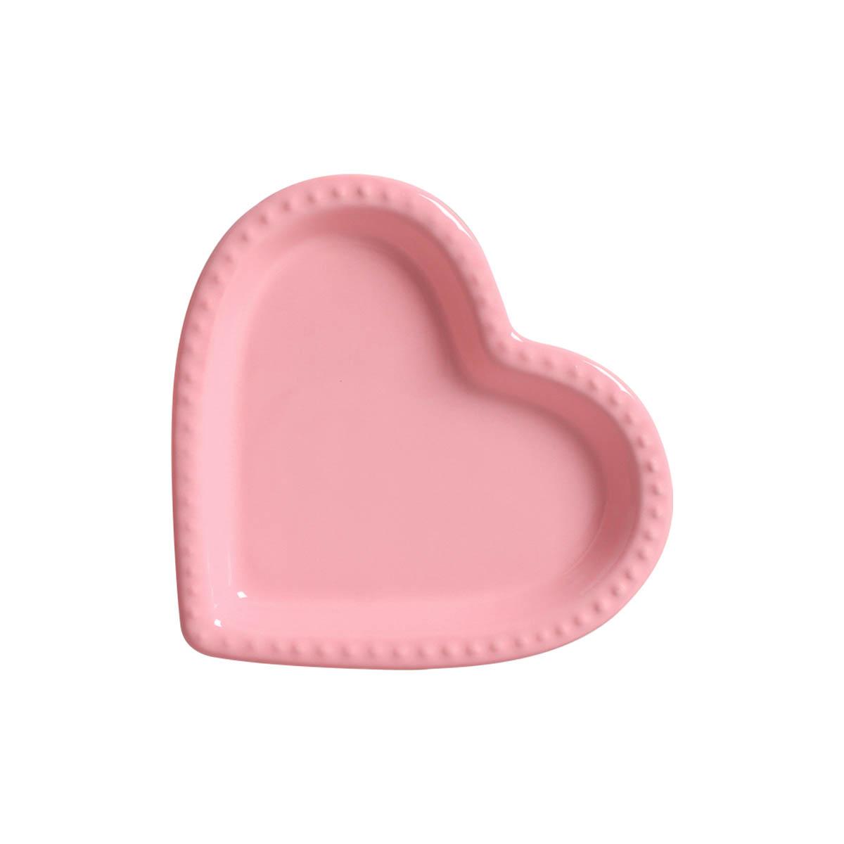 Travessa Petisqueira Coração Rosa com Relevo Grande