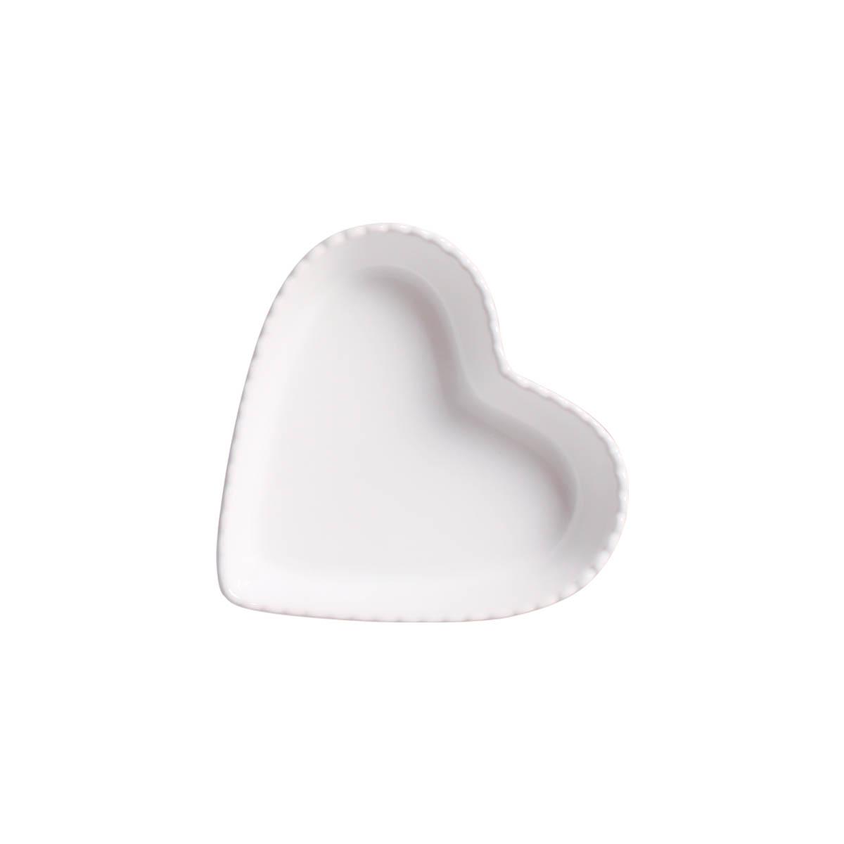 Travessa Petisqueira Funda Coração Branco com Relevo
