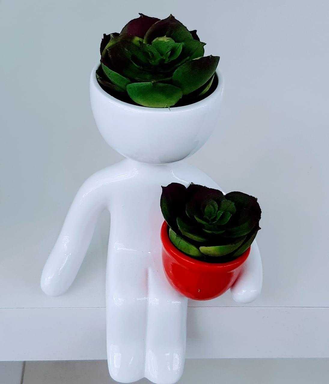 Vasinho Sentado Branco com Vasinho Vermelho