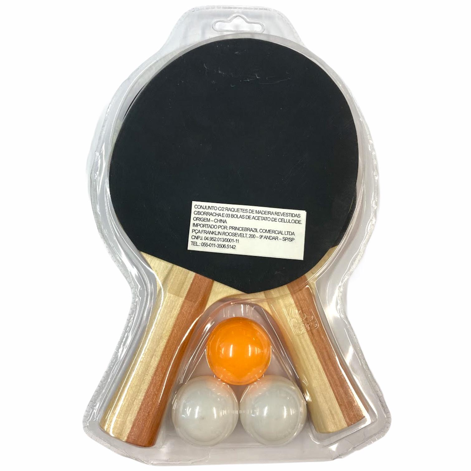 Kit Tênis de Mesa Sunflex Pong com 02 Raquetes e 03 Bolinhas