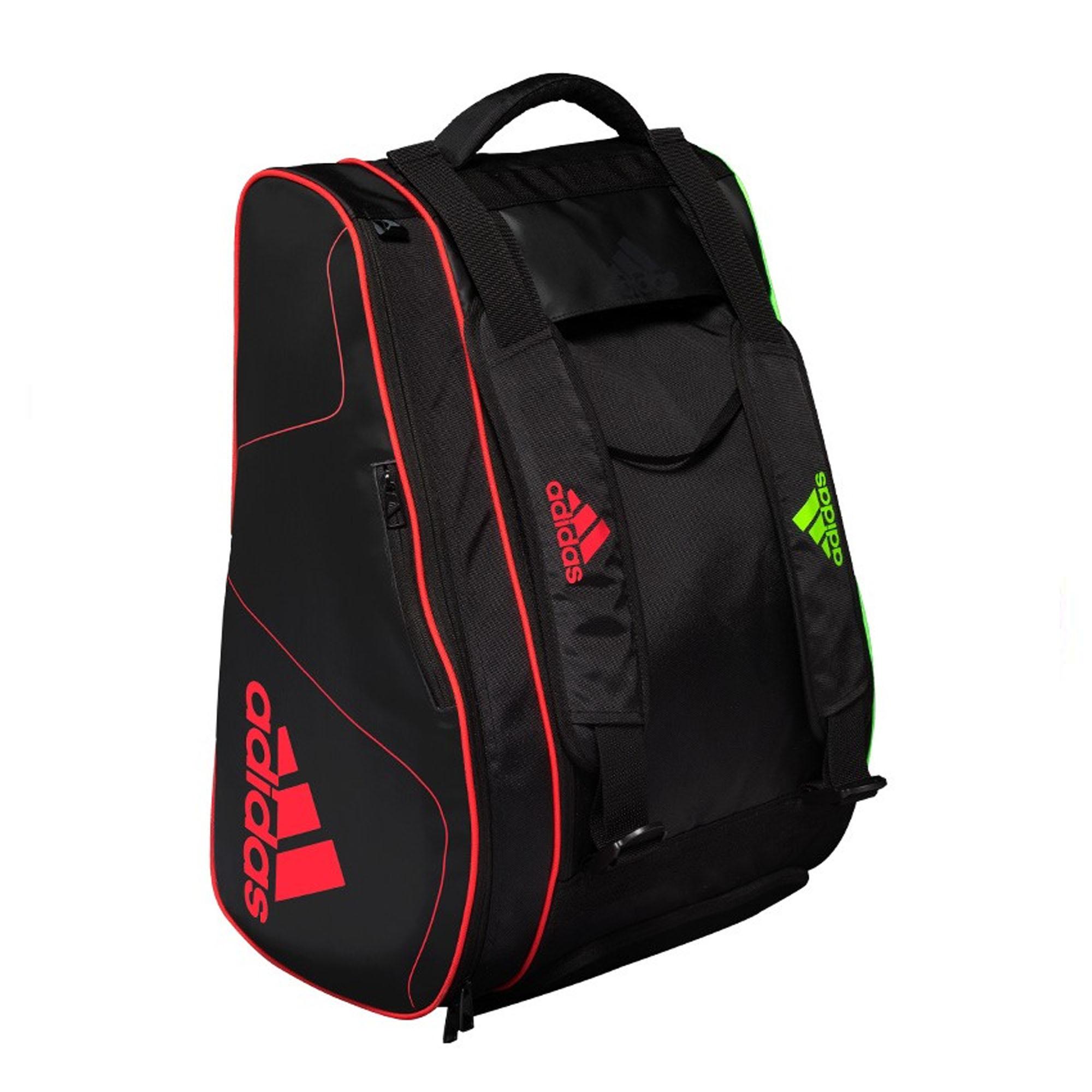 Raqueteira Adidas Tour Para Padel e Beach X9 Preta Vermelho e Limão