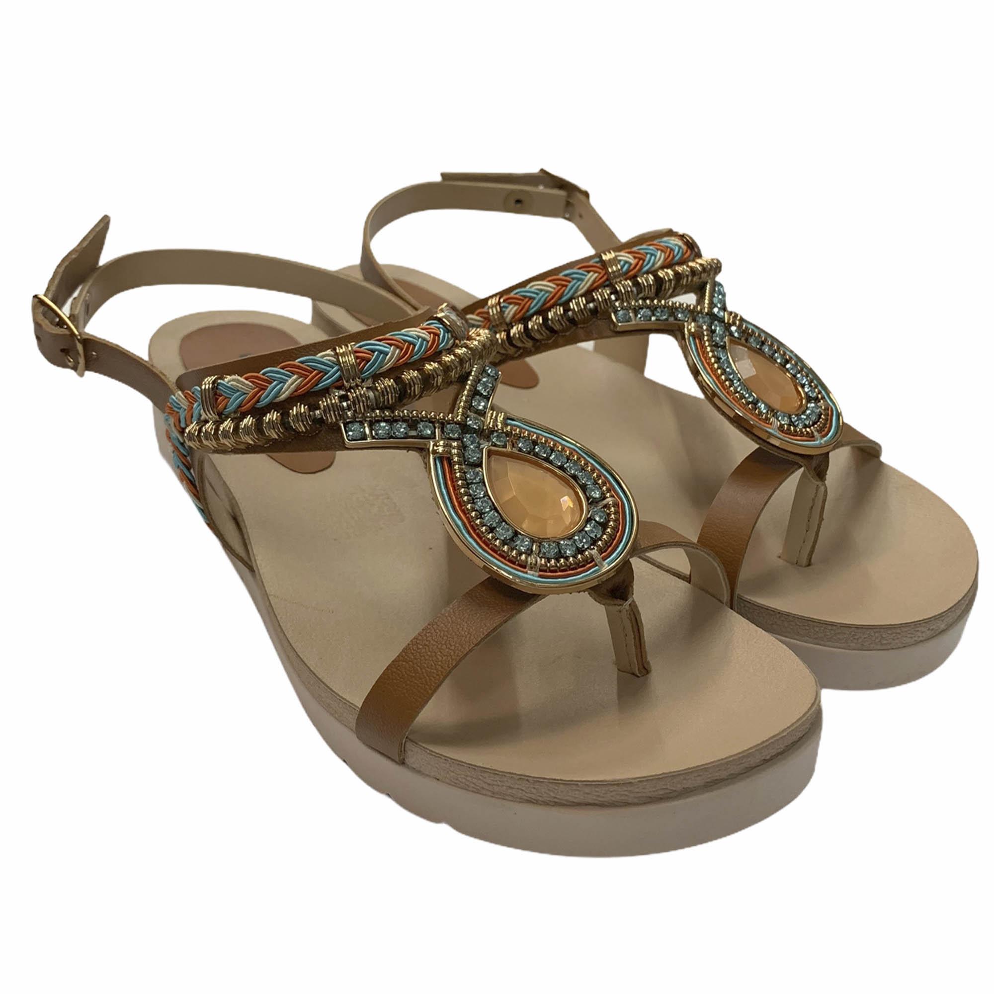 Sandália Dakota Flatform Pedrarias Caramelo