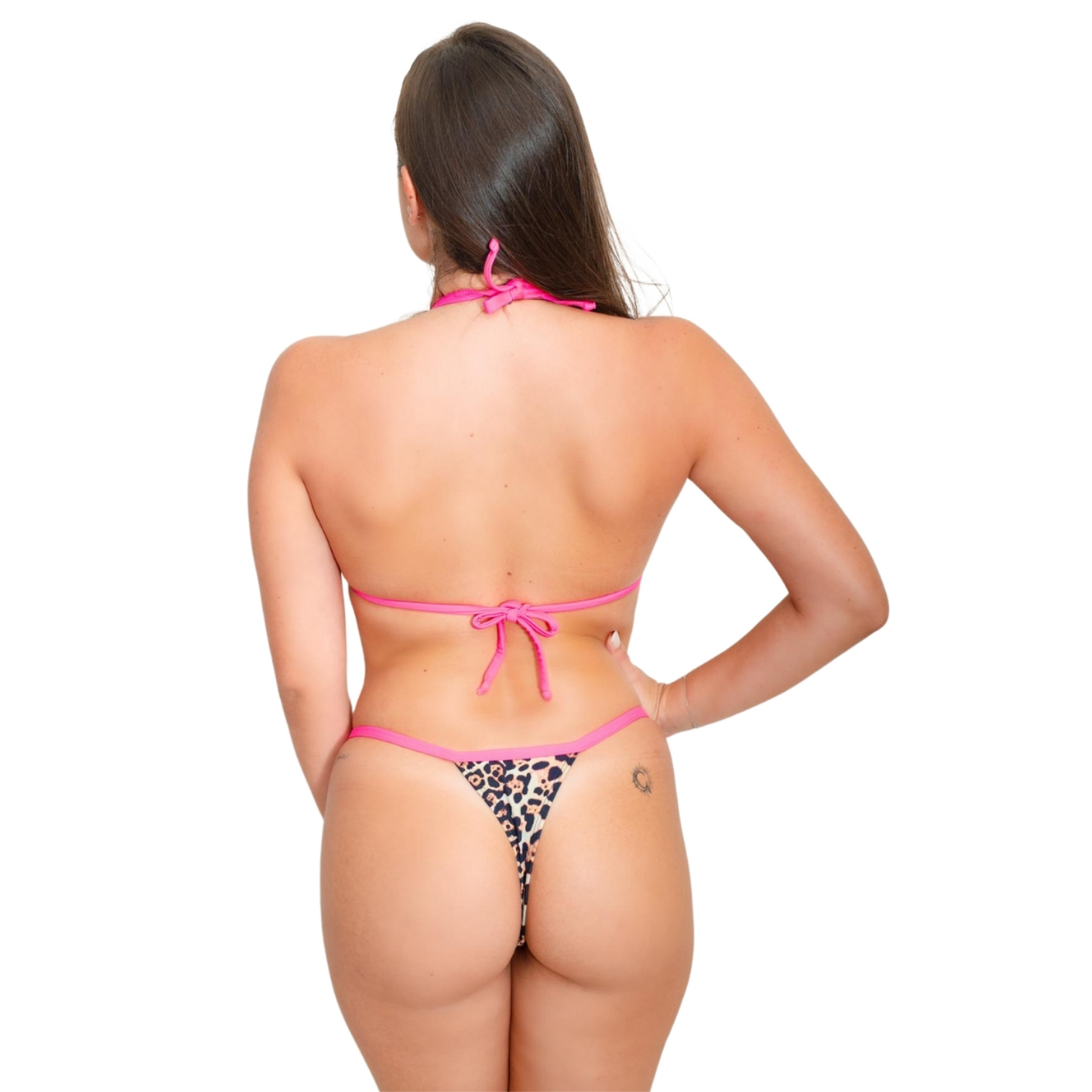 Biquíni Marquinha Fita Bronze Fio Onça Pink Neon