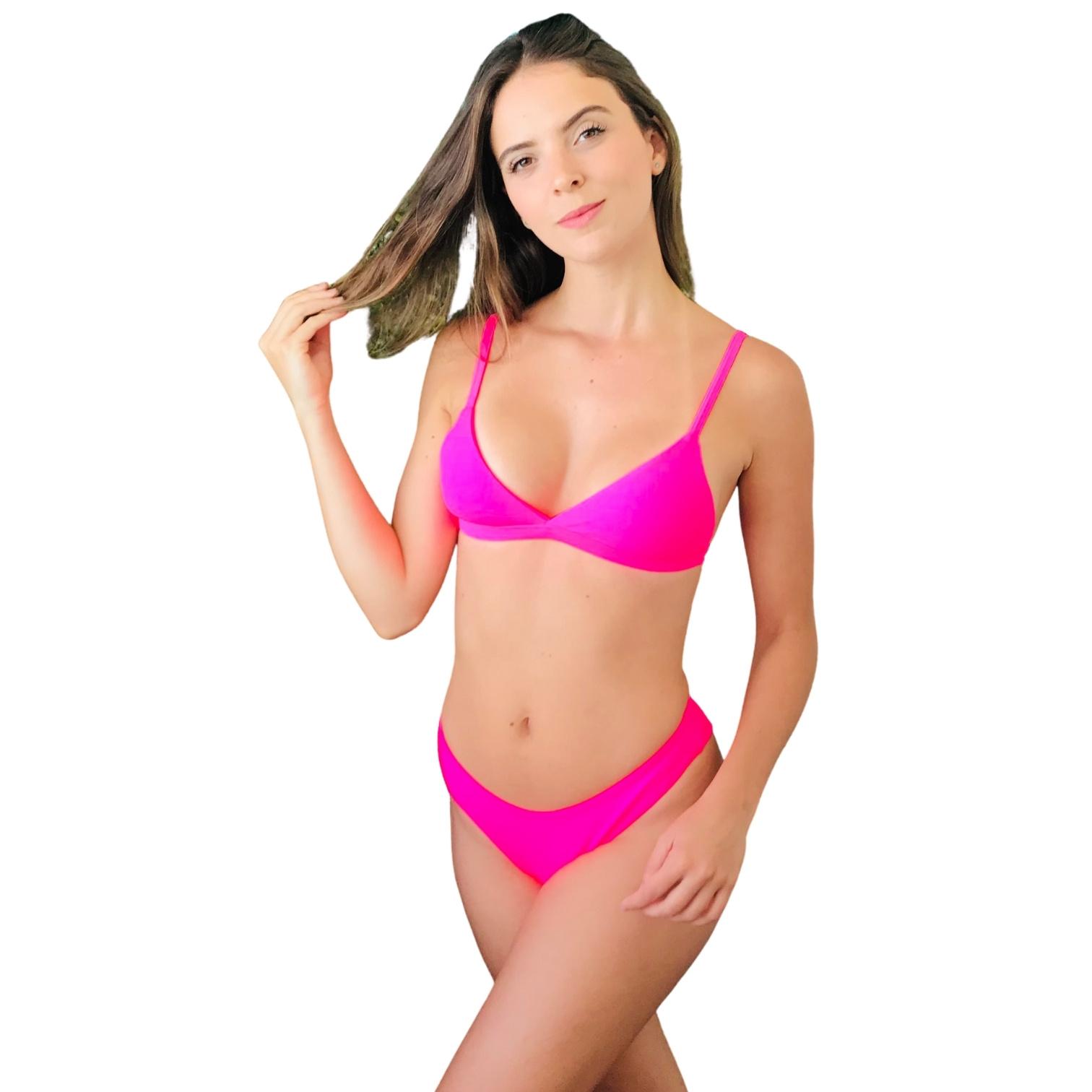 Biquíni Top Fixo com Tanga Asa Delta Fio Duplo Pink Neon