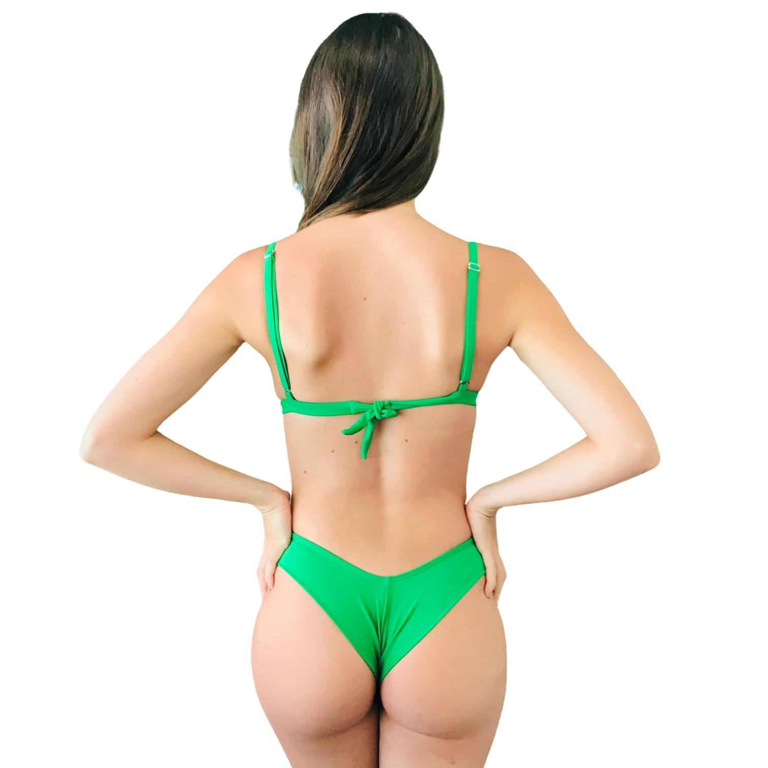 Biquíni Top Fixo com Tanga Asa Delta Fio Duplo Verde Bandeira