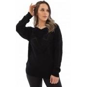 Blusa Jéssi Tricô com Detalhes em fio de Pelo