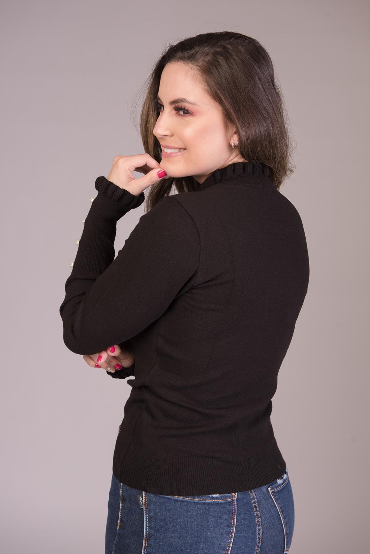 Blusa em Tricô com Babados e Apliques Jéssi Malhas