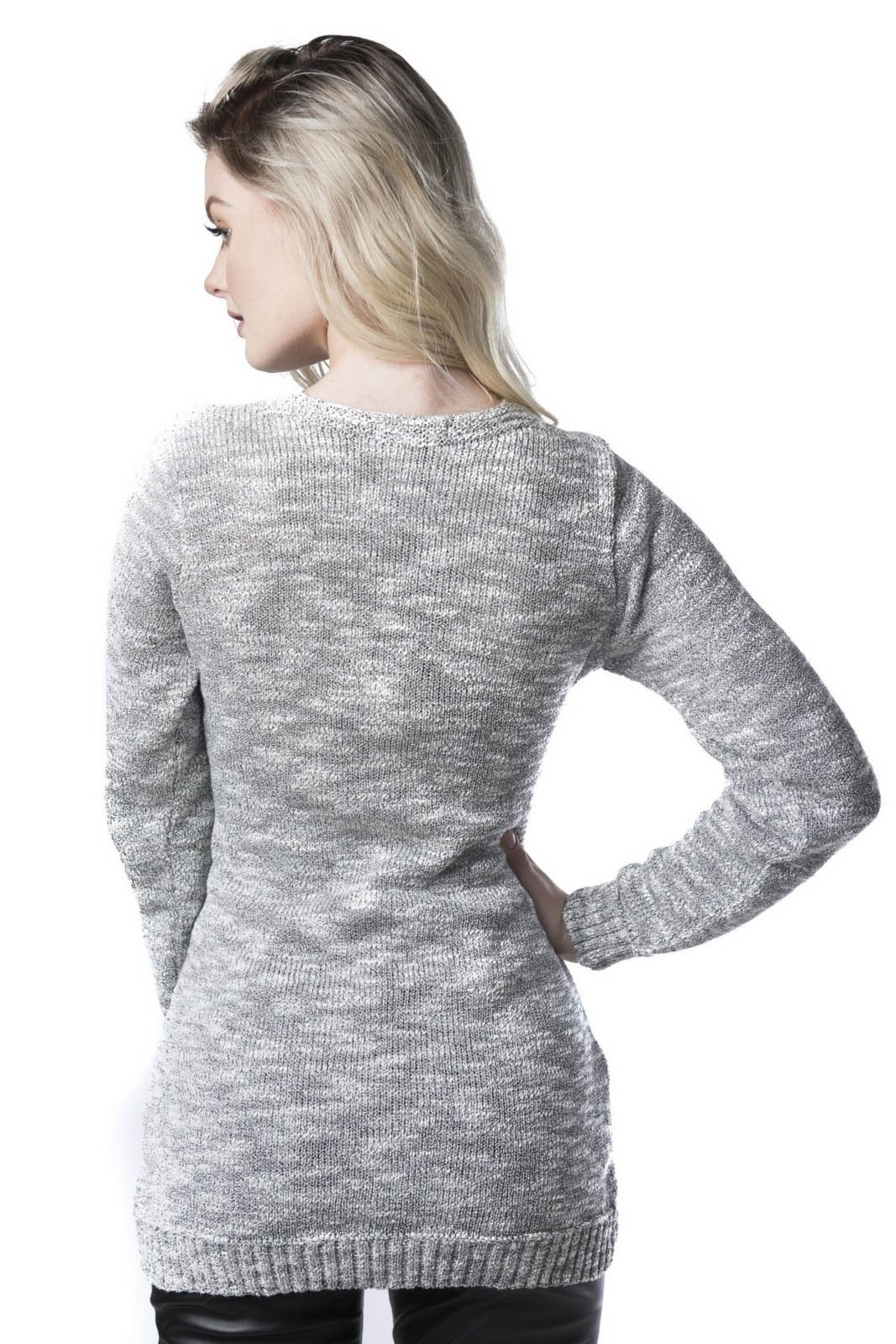 Blusa Jéssi Malhas Vest Legging Trança 3D Tricô