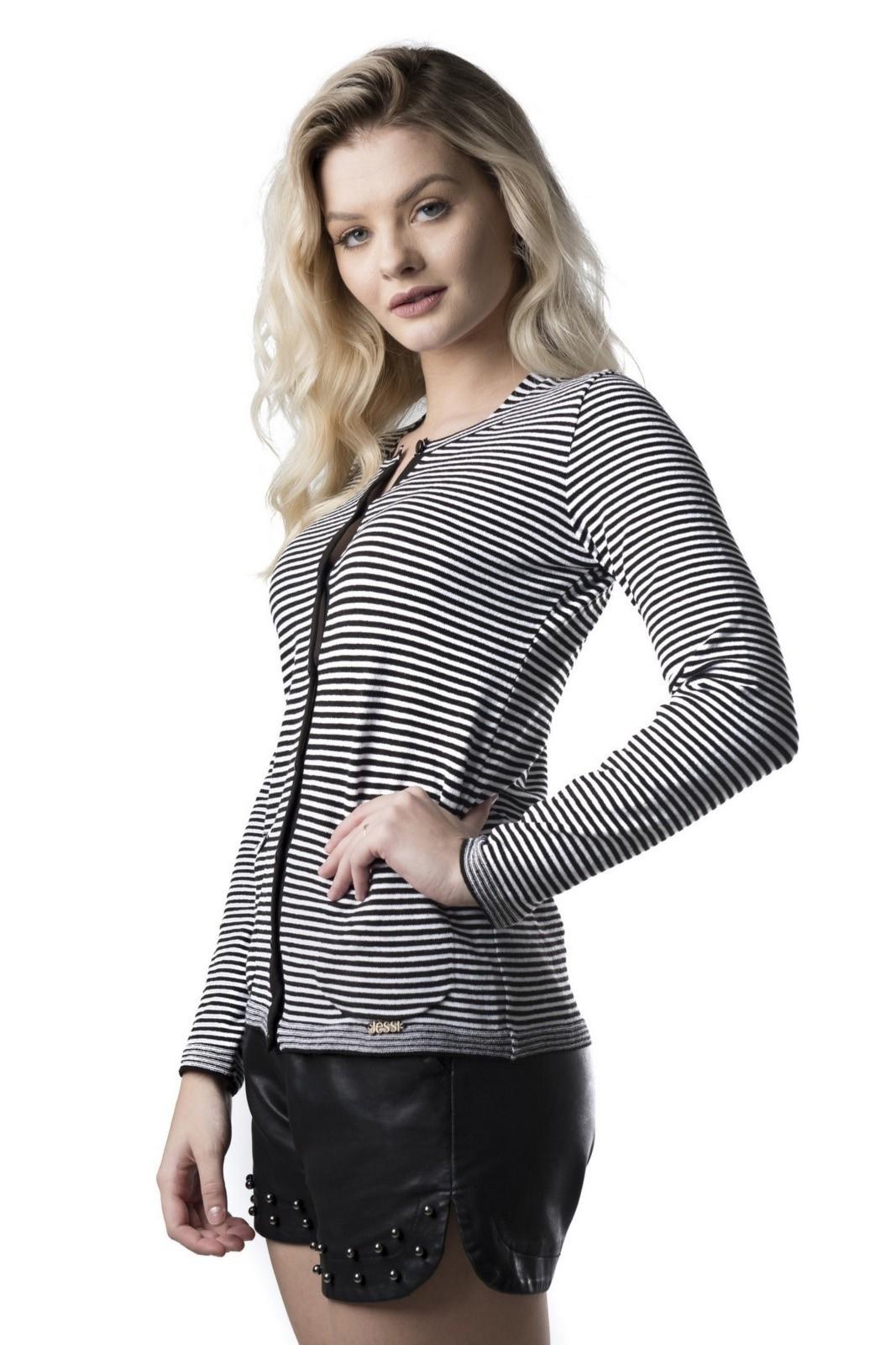 Cardigan Modal Jéssi Malhas tricô - Preto e Branco
