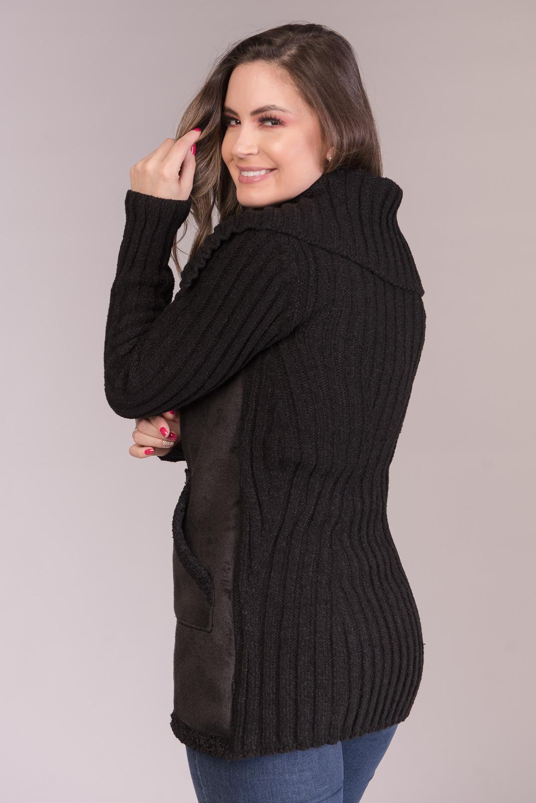 Jaqueta com Frente em Tecido Flocado e Tricô Jéssi Malhas