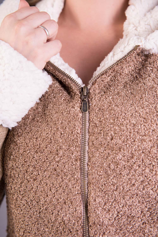 Jaqueta de Tricô com Frente e Capuz em Tecido Flocado Jéssi Malhas