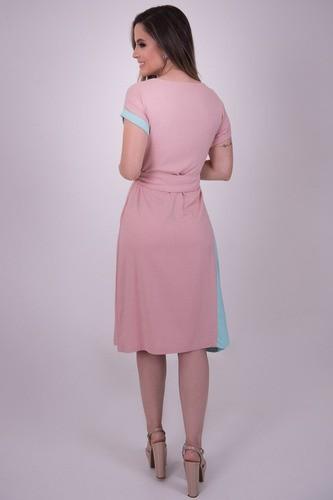 Vestido de Viscolinho em Duas cores e Cinto